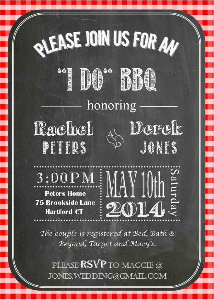 It s an i do bbq party for Wedding engagement party invitations